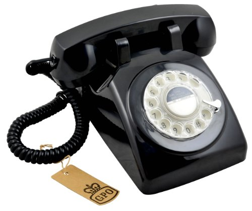 Protelx PTX1970 Retro Vintage Style Old Fashioned Rotary Dial Telephone - Black images