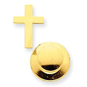 14k Gelb Gold Poliert Kreuz Krawatte TAC