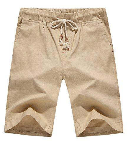 NITAGUT Men's Linen Casual Classic Fit Short (2XL, 02Khaki) Casual Shorts