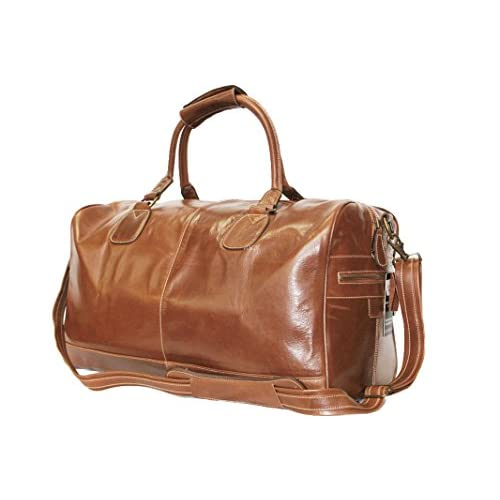 Large Chestnut <strong>Brown< strong> Real Premium <strong>Leather< strong> Holdall Duffle Travel Sports Gym Luxury Designer <strong>Weekend Bag< strong>