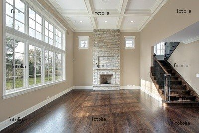 "Wallmonkeys Peel and Stick Wall Graphic - Family Room with Two Story Fireplace - 24""W x 16""H"