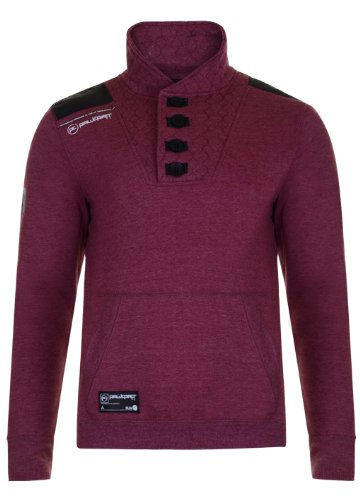 Mens 'Raw Craft' Shawl Collar Sweatshirt With Stitch Detail. Style Name - Drogba (C606609C). In Mahogany Marl Size - Small