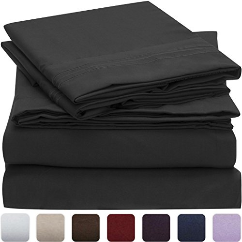 Mellanni-Bed-Sheet-Set-HIGHEST-QUALITY-Brushed-Microfiber-1800-Bedding-Wrinkle-Fade-Stain-Resistant-Hypoallergenic-3-Piece-Twin-Black