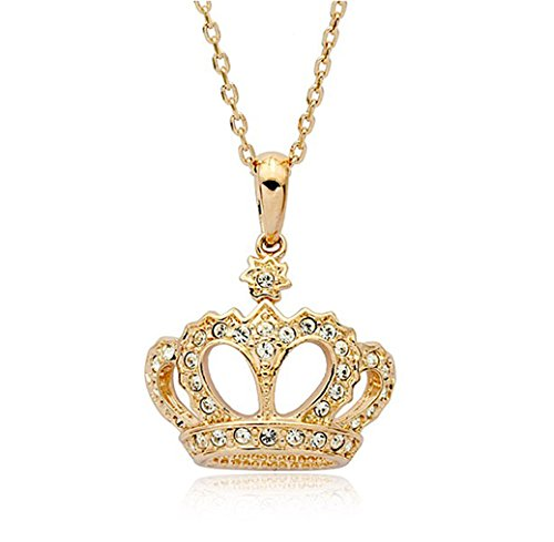 Clear Cubic Zirconia Crystal Ornate Crown Pendant Necklace Fashion Jewelry For Women (Gold Plated)