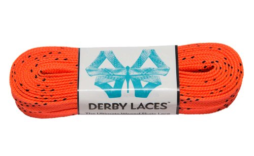 Orange 108 Inch Waxed Skate Lace - Derby Laces for Roller Derby, Hockey and Ice Skates, and Boots
