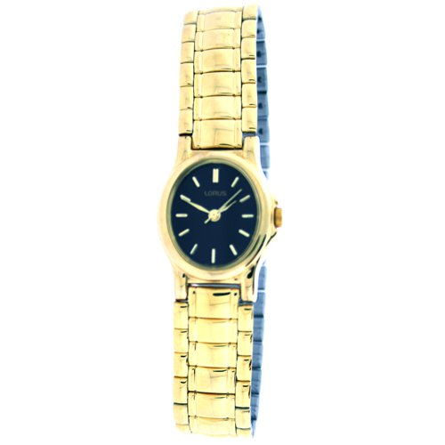 Lorus Ladies Gold Tone Watch Black Dial Bracelet RZK480L9