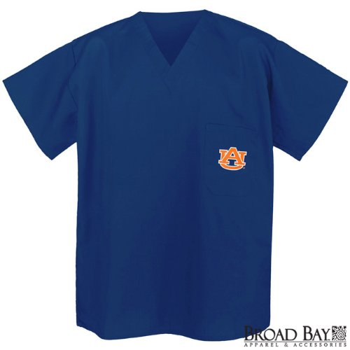 Auburn Scrubs Top Shirt-Size MED- Auburn Tigers For HIM or HER -Officially Licensed NCAA College Logo Apparel For HIM or HER - SEARCH BROAD BAY SCRUB FOR OTHER College Logo Apparel Unique GIFT Ideas for Man Men Woman Women Ladies Nurses at Amazon.com