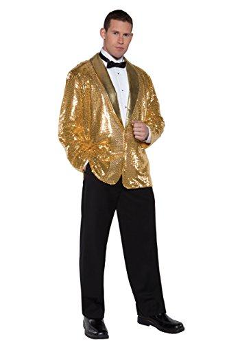 Underwraps Men's Sequin Jacket, Gold, One Size (Secret Agent Tuxedo Adult Mens Costume)