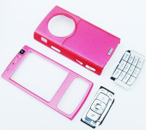 KMS - OEM DELUX N95 NOKIA FULL STYLE-UP HOUSING FASCIA COVER SET INCLUDING FULL FRONT, FULL BACK RUBBER COVER & KEYBOARD FOR N95 - PINK