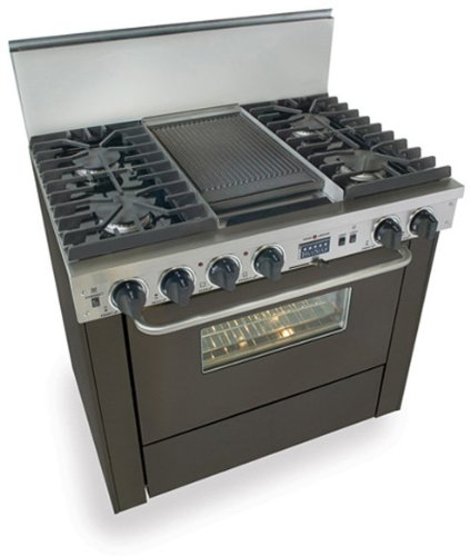 "TTN-337-7W 36"" Pro-Style Dual-Fuel Natural Gas Range with 4 Sealed Ultra High-Low Burners 3.69 cu. ft. Convection Oven Self-Cleaning and Double Sided Grill/Griddle"