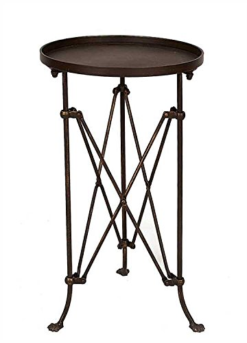 "14-1/4"" Round x 25""H Metal Table, Bronze Finish, KD"