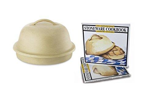 SuperStone La Cloche Stoneware Bread Baker, Country Kitchen Cookbook and Proofing Basket Bundle