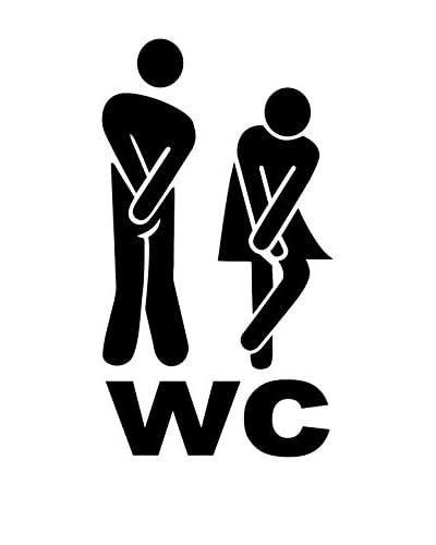 Ambiance Live Vinilo Decorativo Timid man and woman toilet Negro