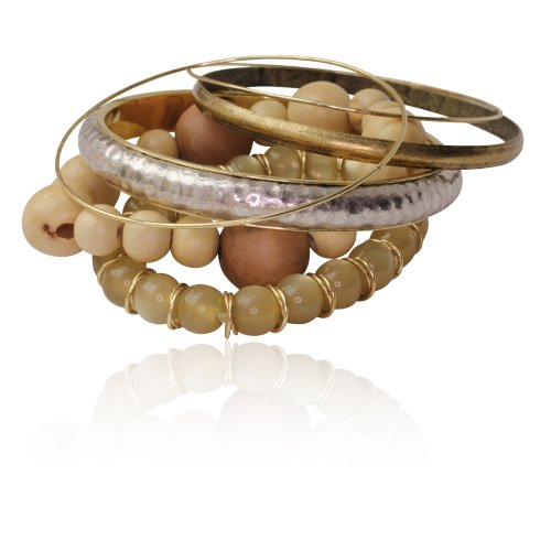 Gold Silver and Wood Bead Bangle Set
