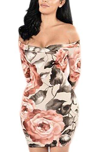 Pretid Women Sexy Off Shoulder Floral Stripe Ruffles Slim Bodycon Midi Dress
