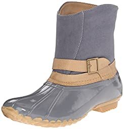 Chooka Women\'s Canvas Step-In Duck Ankle Rain Boot, Gray, 8 M US