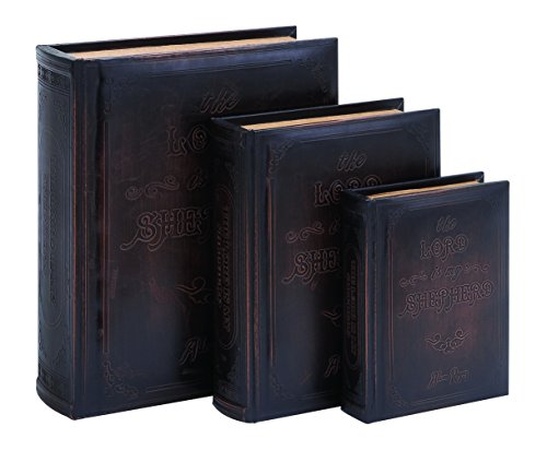 Benzara Lord Is My Shepherd Book Box Set, Smooth Leather