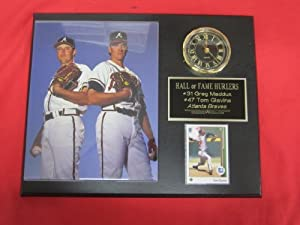 Greg Maddux Tom Glavine Atlanta Braves Collectors Clock Plaque w 8x10 Photo and Card by J & C Baseball Clubhouse