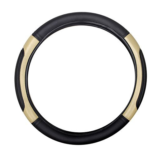 Delhitraderss Highly Quality Black and Beige Car Car Steering Cover for Alto / WagonR / i10 / Santro