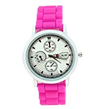 buy Gbsell Women Silicone Rubber Jelly Gel Quartz Casual Sports Wrist Watch (Hot Pink)