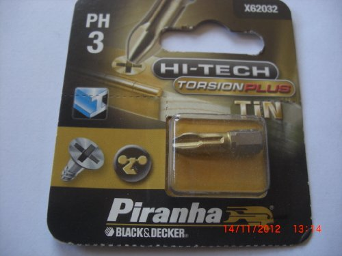 1 Stück Hi-Tech Torsion Plus TIN Bits Kreuz PH 3, Black&Decker