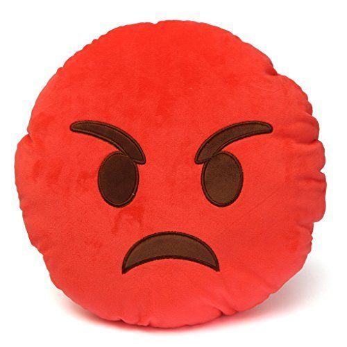 Emoji 32cm Silly Smiley Pillows Emoticon Red Round Cushion Pillow Stuffed Plush Soft Toy-emoji red angry -trademark of 2mb enterpise llc Review