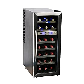 Whynter WC-211DZ 21 Bottle Dual Temperature Zone Wine Cooler, Stainless Steel Trimmed Glass Door with Black Cabinet: Home Improvement