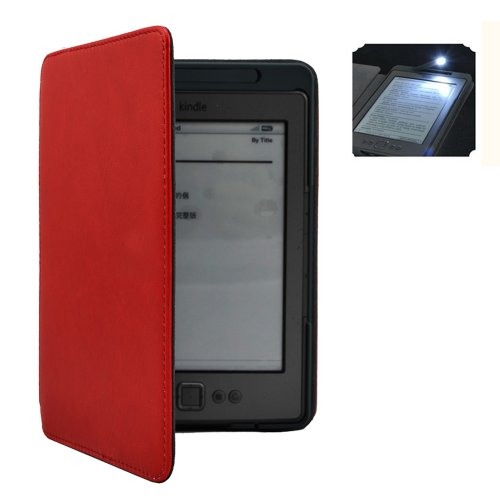 """Versiontech Red Ultra Thin Hard Pu Leather Case Cover Sleeve Build-In Led Light Kindle 6"""" Inch Kindle Gen 4 Gen 5"""