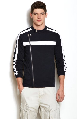 Armani Exchange Mens Striped Moto Jacket