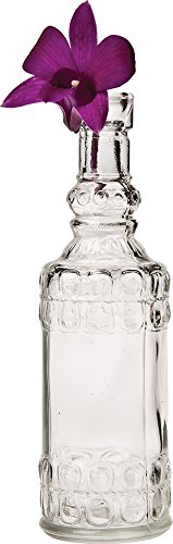 Luna Bazaar Small Vintage Glass Bottle Set (7-Inch, Clear, Set of 6) - Flower Bud Vases Bulk - For Home Decor and Wedding Centerpieces 4