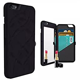 iPhone 6 Plus/6s Plus Case-Auroralove Black Card Slot Wallet Cover with Mirror Glass Design for Beauty Makeup PU Leather Case for iPhone 6Plus/6s Plus 5.5 Inch