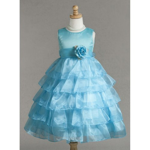 Crayon Kids Turquoise Floral Tulle Sleeveless Easter Flower Girl Dress 7/8