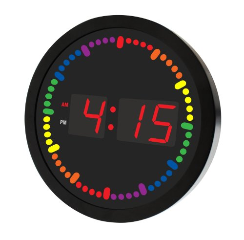 """Big Digital Led Clock With Rainbow Color Circling Led Second Indicator - Round Shape (10"""" / Multi Color) (5 Second Color Indicator, Red)"""