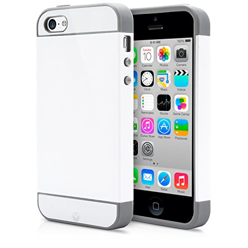 iPhone 5C Case, MagicMobile® Cute Ultra Slim Protective [Hybrid Impact] Hard Durable Thin TPU Cover for Apple iPhone 5C Armor Shell [ White - Gray ]Case with Clear Screen Protector (Iphone 5c Protective Case Cute compare prices)
