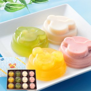 銀座千疋屋(せんびきや)ミッキー フルーツゼリー&ミルクプリンセット(パイナップルゼリー、白ぶどうゼリー、ミルクプリン、いちごプリン:各3個)