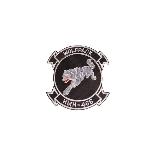 USMC Marine Corps Army Embroidery Iron On Patch   Wolf Pack HMH 466 Applique