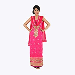 Nirali Women's GeoregtteSalwar Kameez SemiStiched Dress Material - Free Size (Pink)