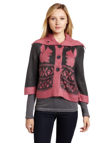 Kensie Girl Juniors Squirrel Cardigan, Dark Storm, X-Small