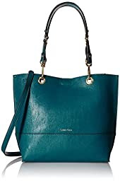 Calvin Klein Novelty Reversible North/South Tote, Lagoon/Antique Bronze