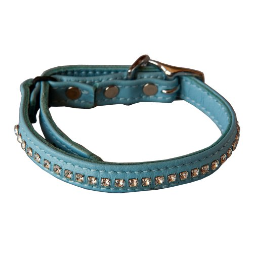 Crystal Leather Safety Cat Collar - Night To Remember (Baby Blue)