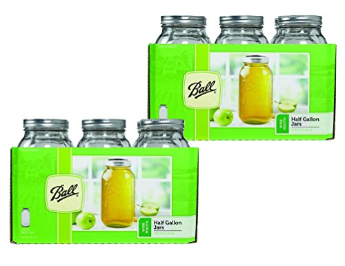 Ball Wide Mouth Half Gallon (64 Oz) Jars with Lids and Bands, Set of 12