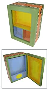 Shadow Box Paintable Pet Memorial Two Sided Colorful Hinged Wooden Shadow Box