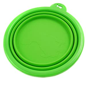 Alfie Pet by Petoga Couture - Ros Silicone Pet Expandable/Collapsible Travel Bowl - Size: 1.5 Cups, Color: Green
