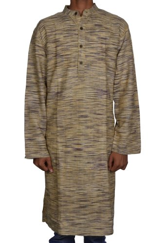 Designed Mens Casual Cotton Khadi Long Kurta Fabric For Winter & Summers Size XXL