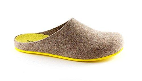 GRUNLAND EURO CB0539 taupe giallo ciabatte donna feltro di vera lana 37
