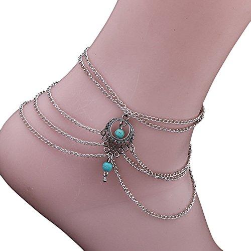 Ethel Women's Bohemian Foot Jewelry Turquoise Bracelet Anklets