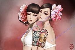 Anime Manga Hot Asian Girl Tattoo Art 33x22 Print Poster 01