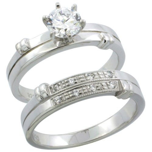 Sterling Silver 2-Piece Engagement Ring Set CZ Stones Rhodium finish, 3/16 in. 4.5 mm, Size 9