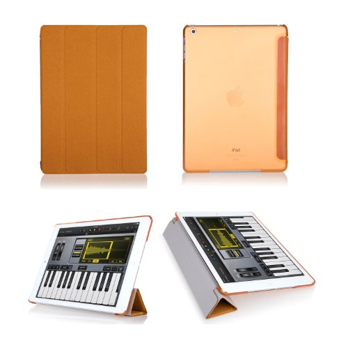 Bear Motion Premium Folio Case With Stand For Apple Ipad (Support Smart Cover Function) (Ipad Air, Orange) front-586553