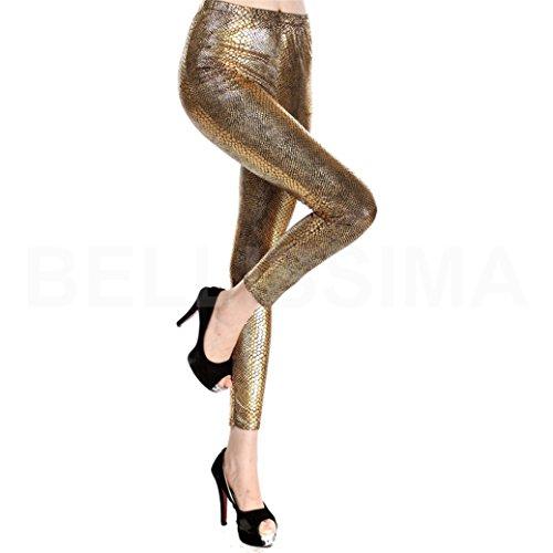 mywy - Leggings oro leggins argento donna pantacollant pantaloni aderenti